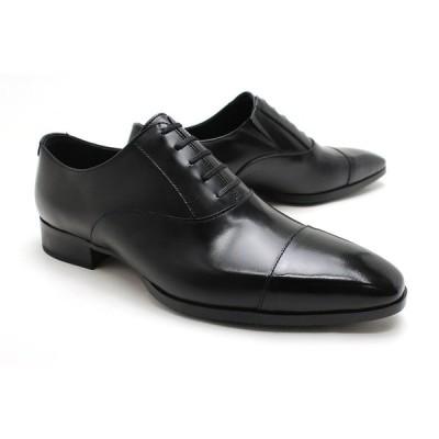 ビズネスシューズ 本革 ストレートチップ キャップトゥ メンズ 革靴 本革 クインクラシコ 27001bk ブラック(黒) キャップトゥスリッポンラバーソール