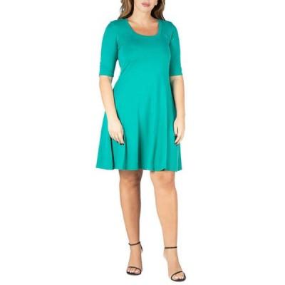24セブンコンフォート レディース ワンピース トップス Plus Size 24seven Comfort Appare Elbow Sleeve Knee Length Dress