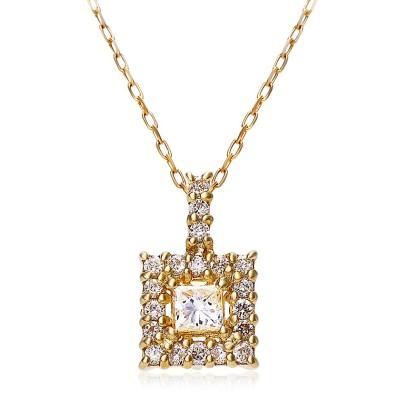 (JEWELRY SELECTION/ジュエリーセレクション)K18YG 天然ダイヤモンド 計0.15ct スクエアネックレス/ユニセックス イエローゴールド