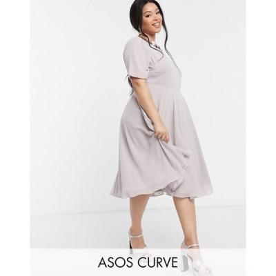 エイソス レディース ワンピース トップス ASOS DESIGN Curve crop top embellished neckline midi dress in dusty Purple