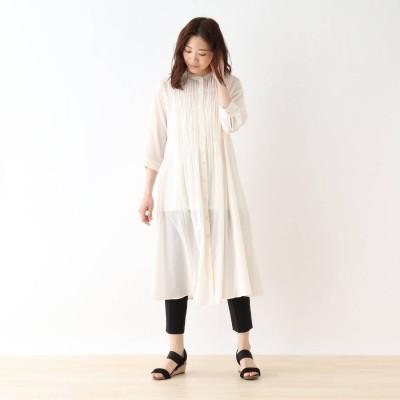 シューラルー SHOO-LA-RUE 【M-3L】綿シフォンシャーリングワンピース (ホワイト)