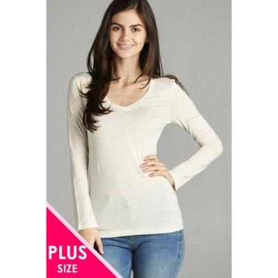 キッズ 衣類 トップス Women & Juniors Basic Long Sleeve V-Neck Slim Tee Shirts Top グラフィックティー