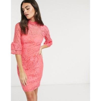 ペーパードールズ レディース ワンピース トップス Paper Dolls lace dress with fluted sleeves in pink Coral pink