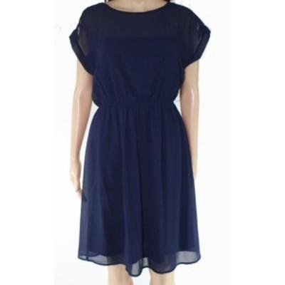 Monteau  ファッション ドレス Monteau Womens A-Line Dress Navy Blue Size Medium PM Petite Blouson