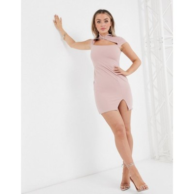 アイソウイット ミディドレス レディース I Saw It First scuba crepe cut out bodycon dress in pink  エイソス ASOS sale ピンク
