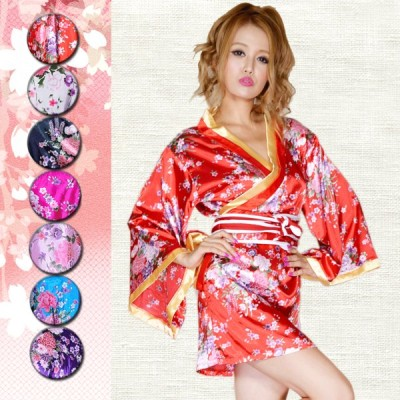 サテン和柄花魁KIMONOミニドレス 花魁 帯のサイズは調節できます。リボンも取り外し可能/セクシー浴衣・セクシー着物ドレス・パーティ、キャバクラ、お店、キャ