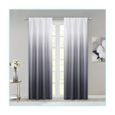 """新品Dainty Home Ombre Woven Shades of Color Rod Pocket Curtain Panel Pair Complete Set of 2, 40"""" wide x 84"""" long each, Gradient White to B"""