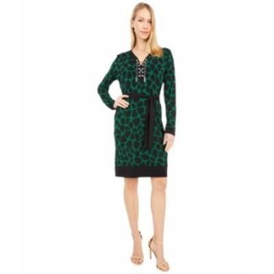 マイケルコース レディース ワンピース トップス Animal Lace-Up Border Dress Moss