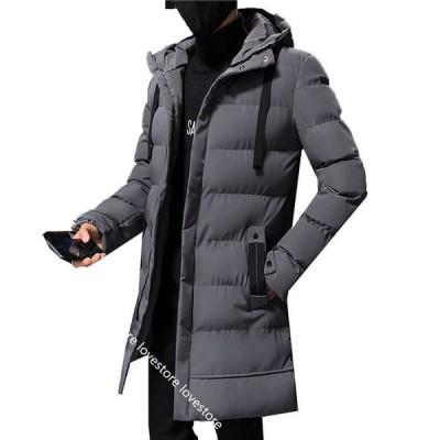 ダウンコート セミロング 冬 メンズ ダウンジャケット 韓国 おしゃれ スリム フード付き 厚手 保温 防寒着 ウインドブレーカー 軽量