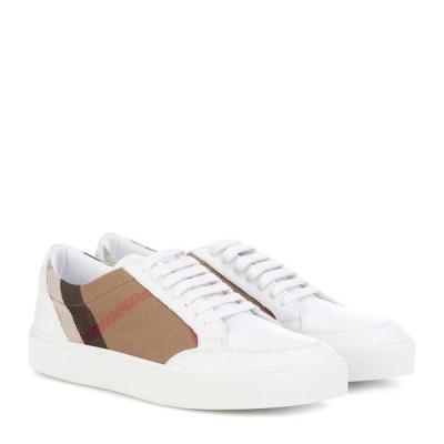 バーバリー Burberry レディース スニーカー シューズ・靴 house check leather-trimmed sneakers House Check/Optic White