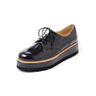 厚底レースアップシューズ/ 軽量 厚底 靴 スニーカー 黒