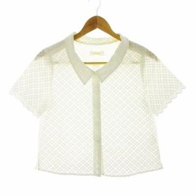 【中古】フォードミルズ FORDMILLS シャツ 半袖 刺繍 白 ホワイト /CK レディース