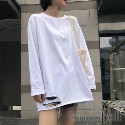 ダメージ Tシャツ レディース 20代 30代 40代 長袖 トップス  カットソー 無地 ゆったり 体型カバー 大人/学生 シンプル 着痩せ 女性 カジュアル ファッション