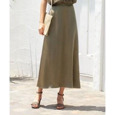 スカート パールサテンAラインロングスカート