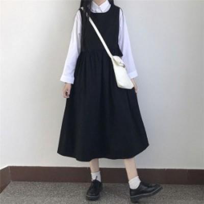 サロペットワンピース 春夏秋冬 サロペットスカート つりスカート レディース 大きいサイズ  綿麻 カジュアル ゆったり 可愛い ファッシ