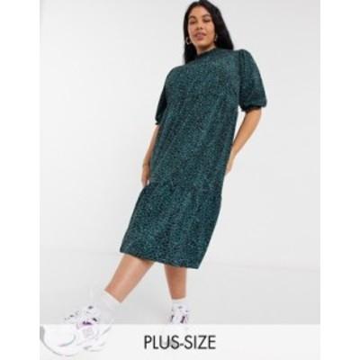 ニュールック レディース ワンピース トップス New Look Curve high neck tiered midi dress in green pattern Green pattern