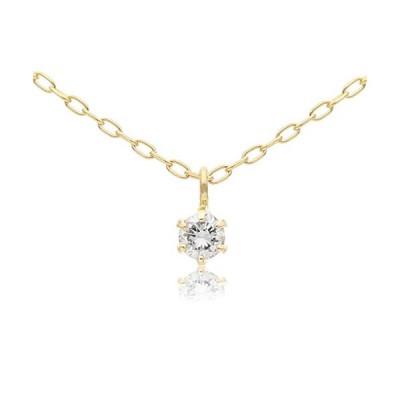 L&Co (エルアンドコー) 【ギフトBOX付】K10 一粒 ダイヤモンド 0.05ct ネックレス【バチカンデザイン】 (K10イエロー
