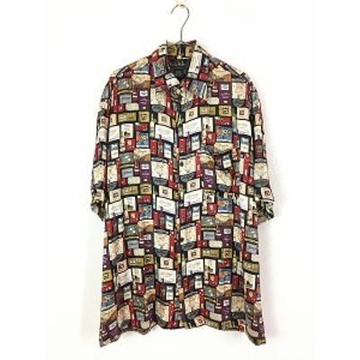 古着 90s Nicole Miller 高級 ワイン 総柄 100% シルク シャツ 柄シャツ 半袖 L 古着