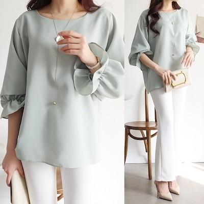 韓国ファッション[MADE IN KOREA] 袖シャーリングでラブリーなムードをプラスしどこにでも軽く着やすいシャーリングブラウス-HA-210316-1