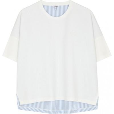 ロエベ Loewe レディース Tシャツ トップス White panelled cotton T-shirt White