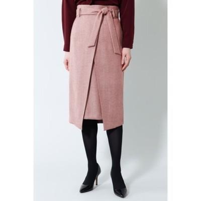 スカート 《B ability》ヘリンボーンスリットラップスカート