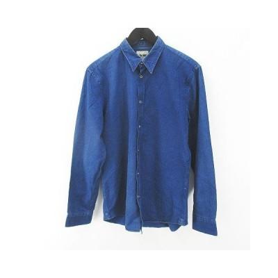 【中古】アクネ Acne 長袖 シャツ ダンガリー 46 紺系 ネイビー ボタン 綿 コットン メンズ 【ベクトル 古着】