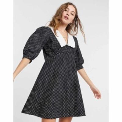 インフルエンス Influence レディース ワンピース ミニ丈 ワンピース・ドレス Collared Cotton Poplin Polka Dot Mini Dress In Black ブ