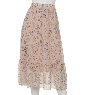 花柄シフォンペチ付スカート