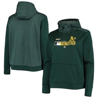 マジェスティック レディース パーカー・スウェット アウター Oakland Athletics Majestic Women's Authentic Dugout Pullover Hoodie Green