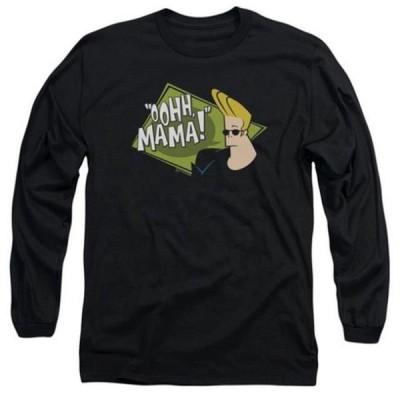 ユニセックス 衣類 トップス Trevco Johnny Bravo-Oohh Mama - Long Sleeve Adult 18-1 Tee - Black, Small グラフィックティー
