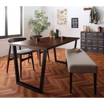 ダイニングテーブルセット 4人用 椅子 ベンチ おしゃれ 安い 北欧 食卓 4点 ( 机+チェア2+長椅子1 ) 幅150 西海岸 ヴィンテージ インダス
