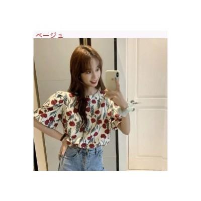【送料無料】バブル半袖 シャツ 女 夏 フラワーズ プリント 韓国風 デザイン 感 | 364331_A63273-8105956