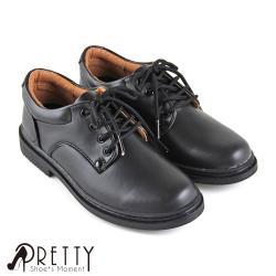 Pretty 八孔綁帶式圓頭標準學生鞋皮鞋(女款)N-27099