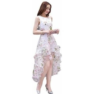 [jiroo] レディース ワンピース ドレス アシンメトリー オーガンジー フレア 結婚式 二次会 パーティー 披露宴 社交ダンス ピンク M