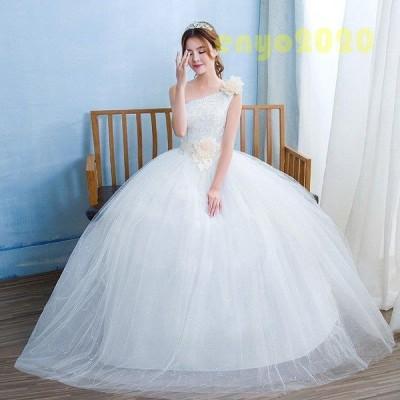 ウェディングドレス 安い 結婚式  花嫁 二次会 パーティードレス シングルショルダー 編上げ  レースアップ プリンセスライン ウエディングドレス ホワイト