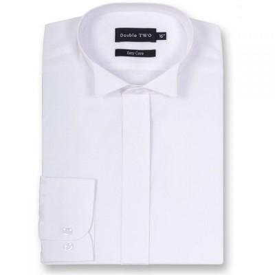 ダブルTWO Double TWO メンズ トップス Wing Collar Plain Fly Front Dress Shirt White