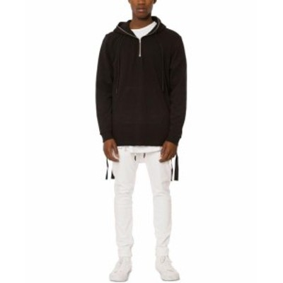 ファッション トップス Jaywalker Mens Solid Deep Black Size Medium M Raw-Edge Hooded Jacket