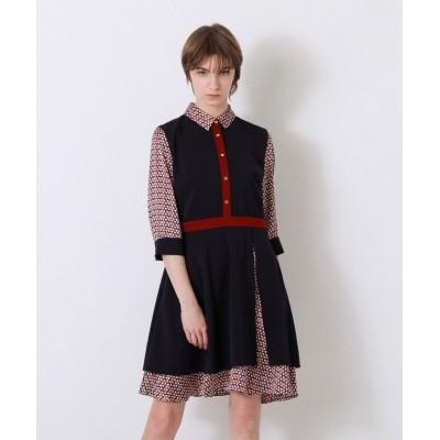 【ラブレス】 ネイビー ジオメトリック シャツカラー ドレス レディース ネイビー 38 LOVELESS