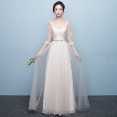 ロングドレス 透け感 パーティードレス 結婚式 Vネック 演奏会 発表会 誕生日 カクテルドレス お呼ばれ 二次会 イブニングドレス