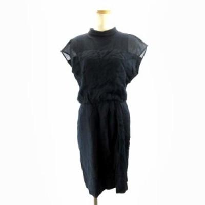 【中古】アンタイトル UNTITLED ハイネックワンピース ドレス ひざ丈 紺 ネイビー 2 M IBO3 レディース