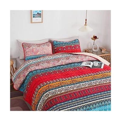 SINCETHEN Boho Quilt Sets Queen Size Bohemian Striped Pattern Coverlet Set