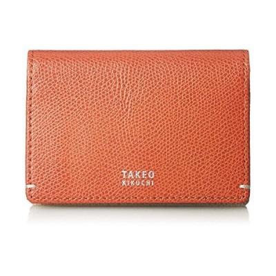 [タケオキクチ] 財布 メンズ 名刺入れ 二つ折り カードケース マチあり 大容量 カード収納 キャーロ オレンジ
