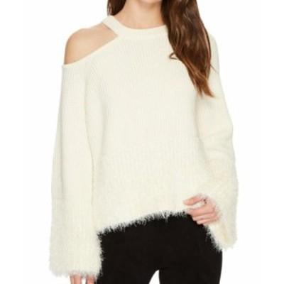 ファッション トップス 1. State NEW White Ivory Womens Medium M Eyelash Cold Shoulder Sweater