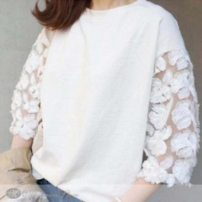 Tシャツ レディース 七分袖 カットソー 刺繍 大人可愛い トップス 白新作
