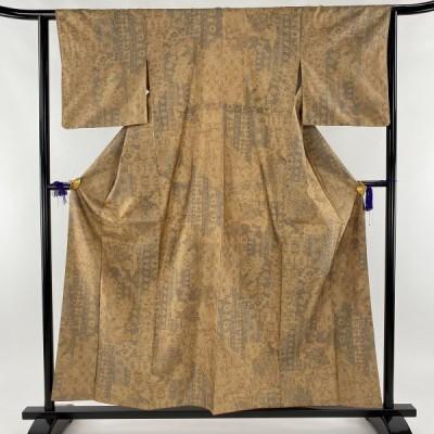 小紋 秀品 紬地 鳥 草花 薄茶色 袷 身丈157.5cm 裄丈62cm S 正絹 中古 PK50