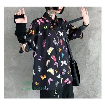 半袖 シャツ レディース ブラウス 蝶々 バタフライ モード系 夏 韓国 原宿 個性的