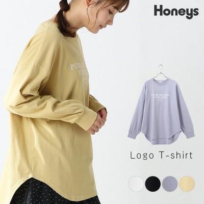トップス ロンT 長袖 チュニック 体型カバー ロゴ オーガニック 綿 ボリューム袖 ロゴ レディース 春 Honeys ハニーズ ロゴTシャツ