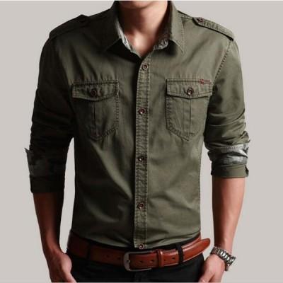 4色 メンズ シャツ  長袖シャツ ワークシャツ カジュアルシャツ ミリタリーシャツ 開襟 トップス お兄系 M-5XL