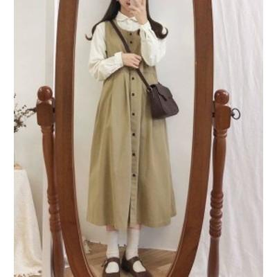 韓国 ファッション レディース ジャンパースカート ワンピース ロング フレア ノースリーブ ゆったり 無地 レトロ ガーリー 大人可愛い