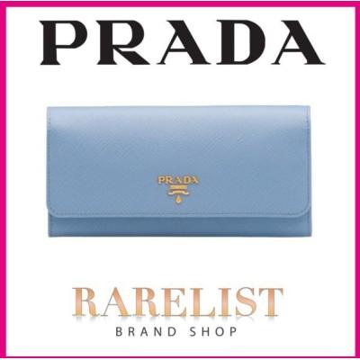 プラダ PRADA 財布 長財布 フラップ かぶせ ライトブルー ブルー ゴールド レザー プレート ロゴ バイカラー マルチ